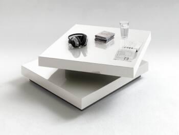 Mesa de centro cuadrada giratoria blanco lacado ES