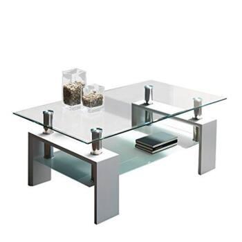 Mesa de centro de cristal y acero es