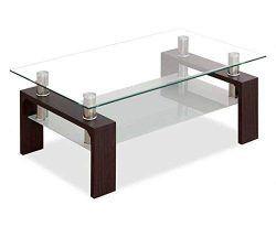 Mesa de centro de cristal y acero en color negro es
