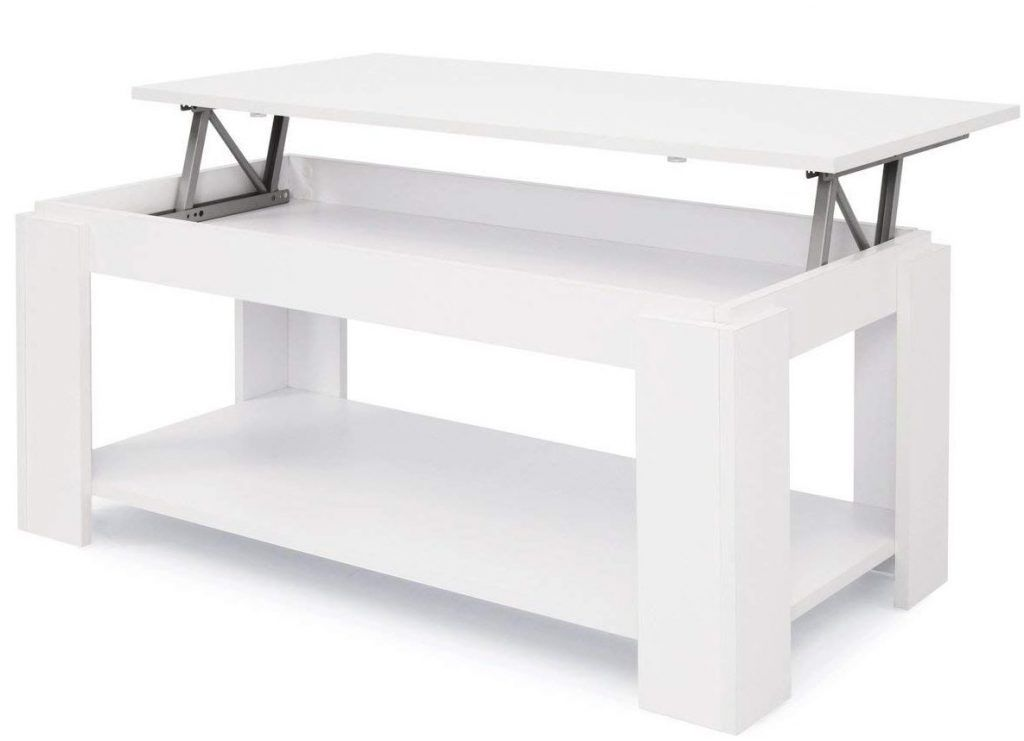 Mesa de Centro Elevable con Revistero color blanco es
