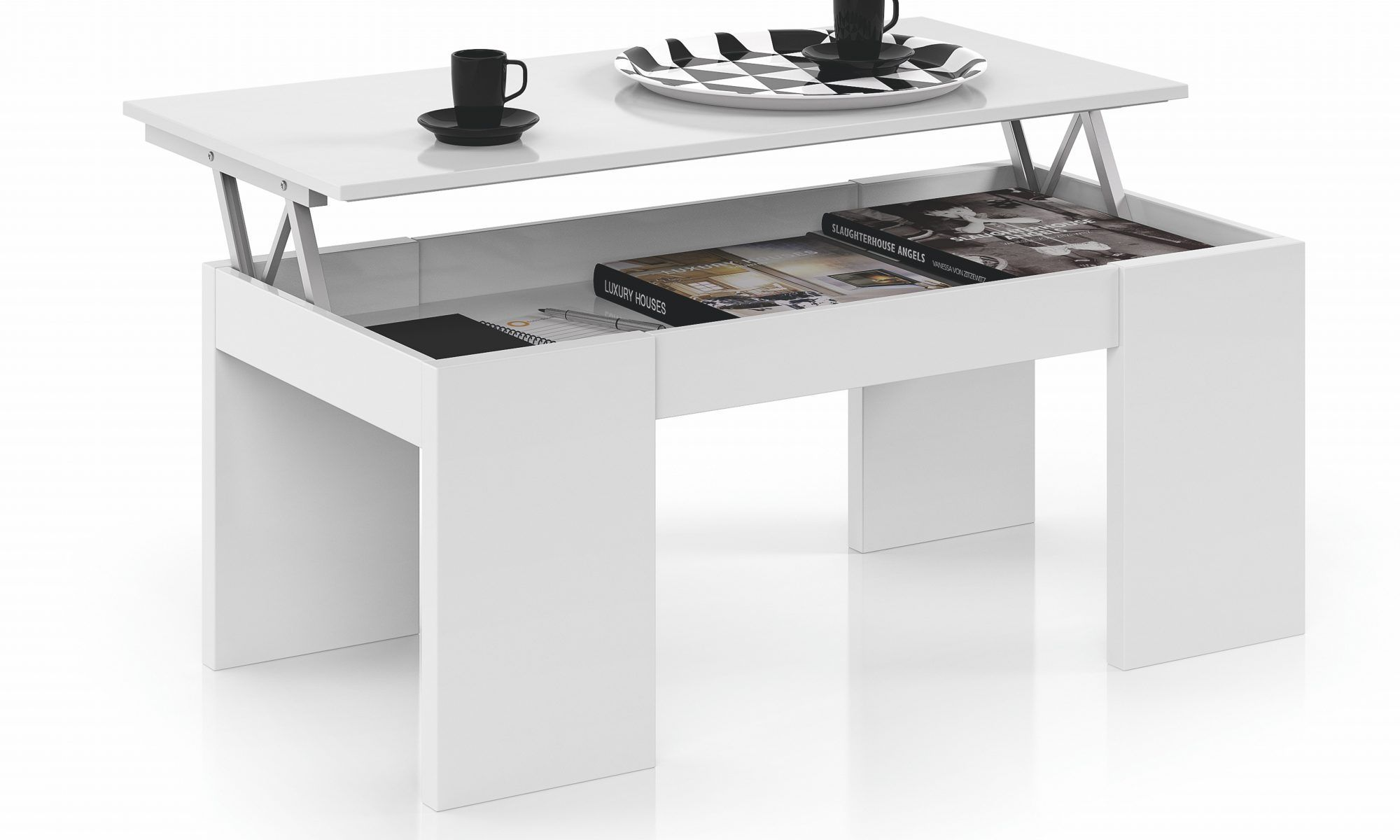 Mesa de centro elevable blanca conforama A1 es