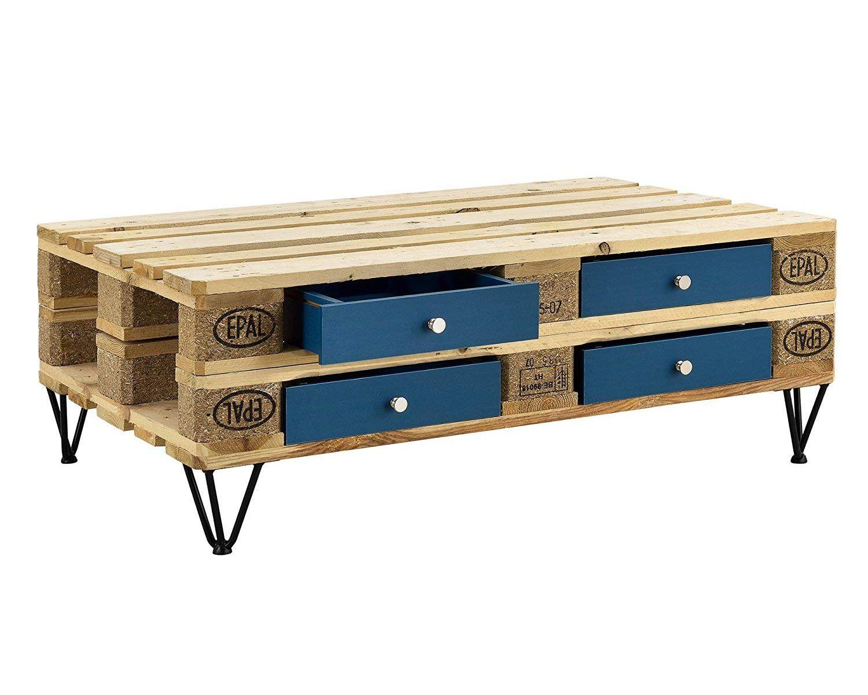 Mesa de Centro hechas con palets cajones azules es