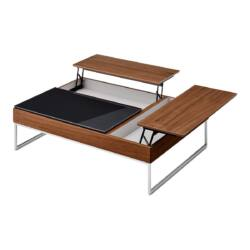 Mesa de centro elevable de diseño premium negro y nogal es