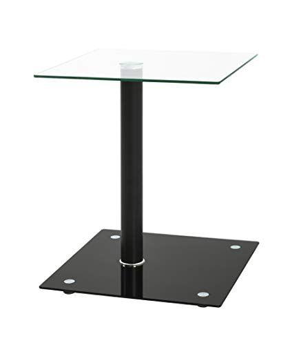 Mesa con centro de cristal en negro es