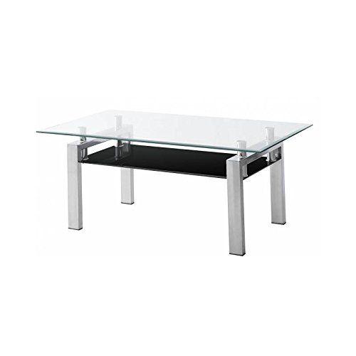 Mesa de centro de cristal y acero rectangular  es