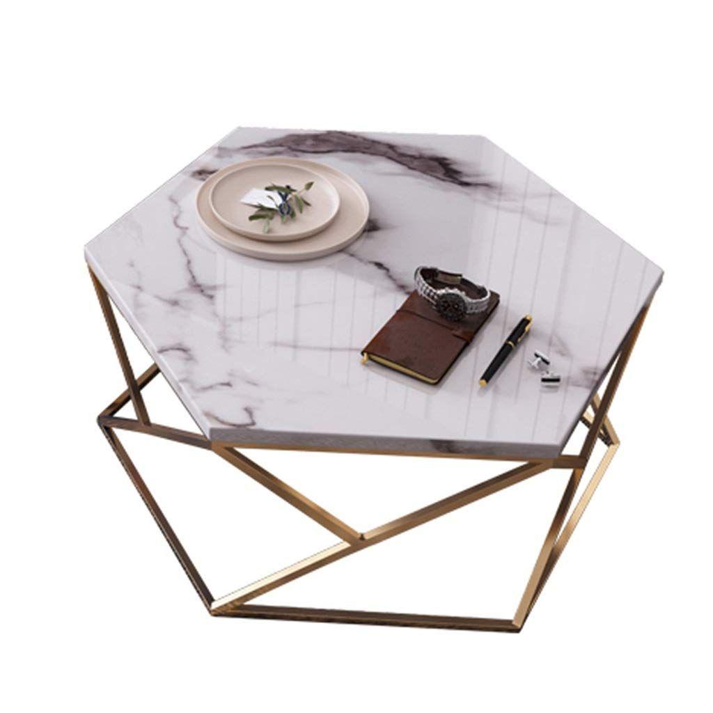 Mesa de centro de mármol hexagonal 01 ES