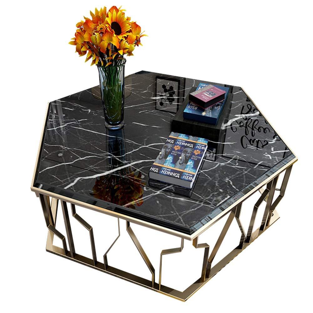 Mesa de centro de mármol hexagonal negra ES