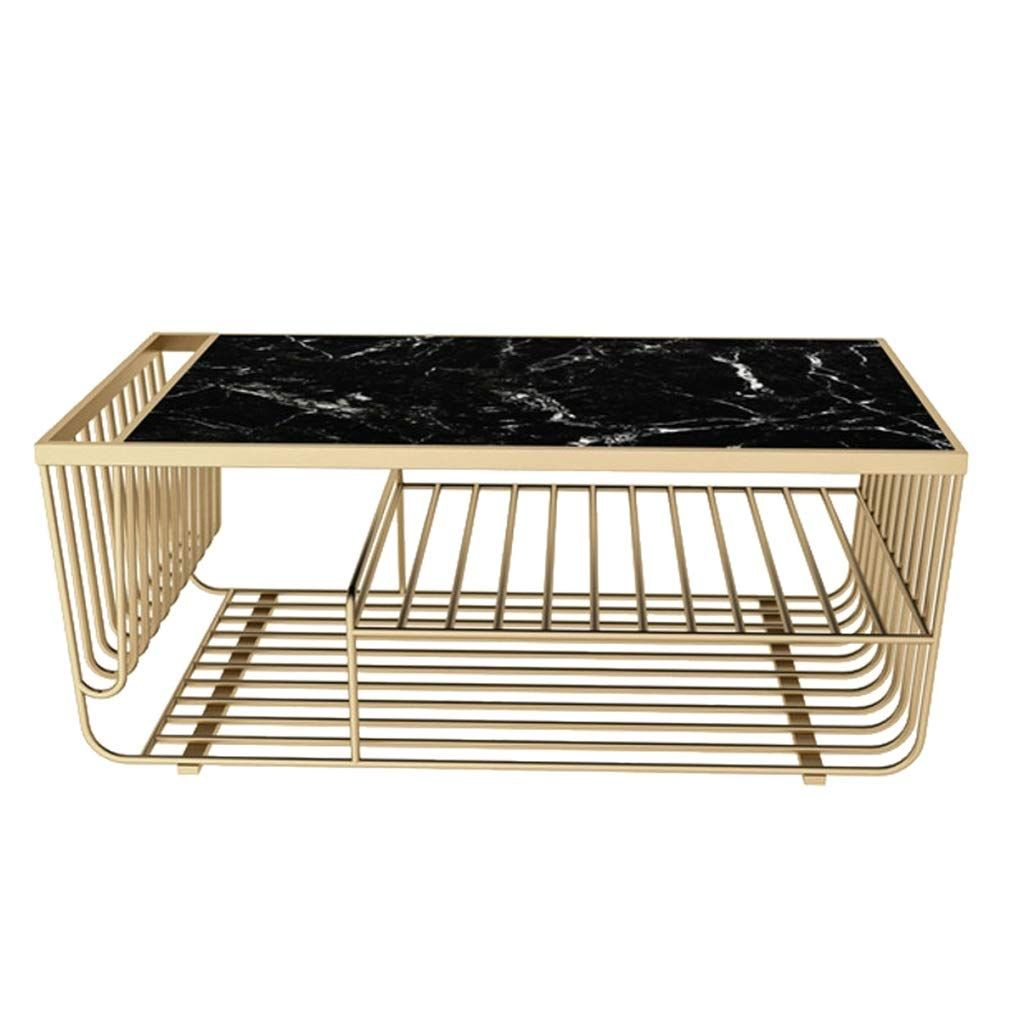 Mesa de centro de mármol rectangular negra ES