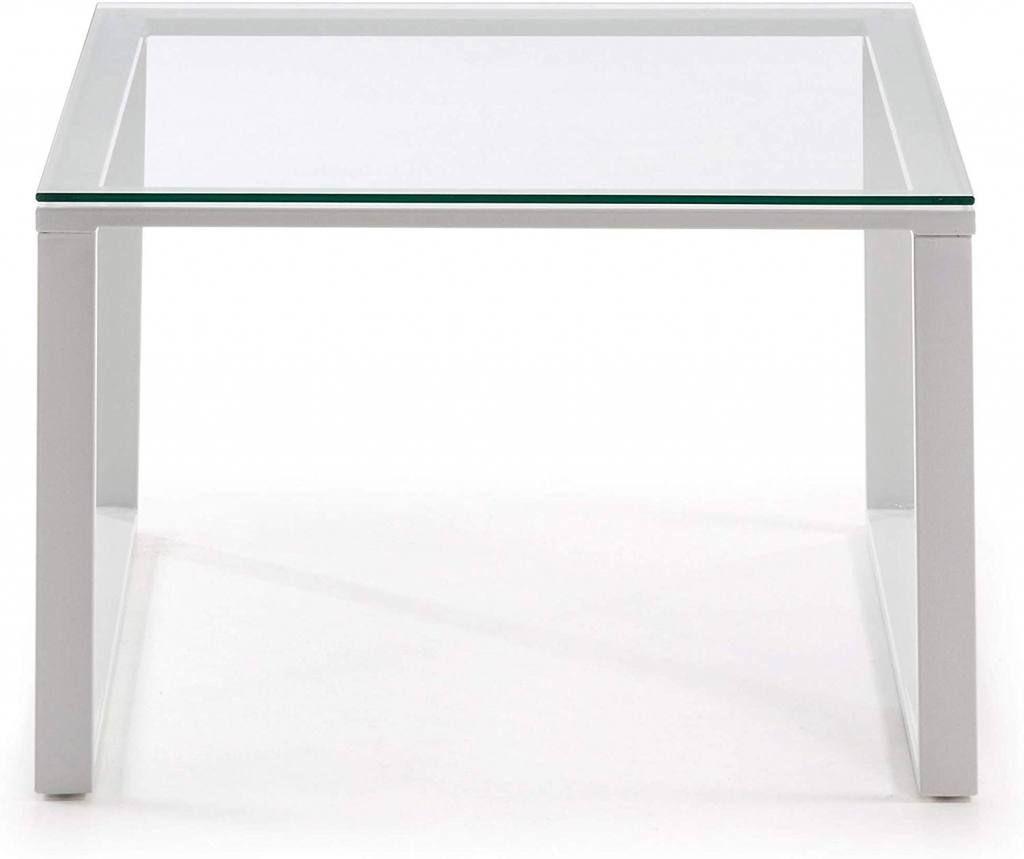 Mesa de centro cuadrada de vidrio y acero es