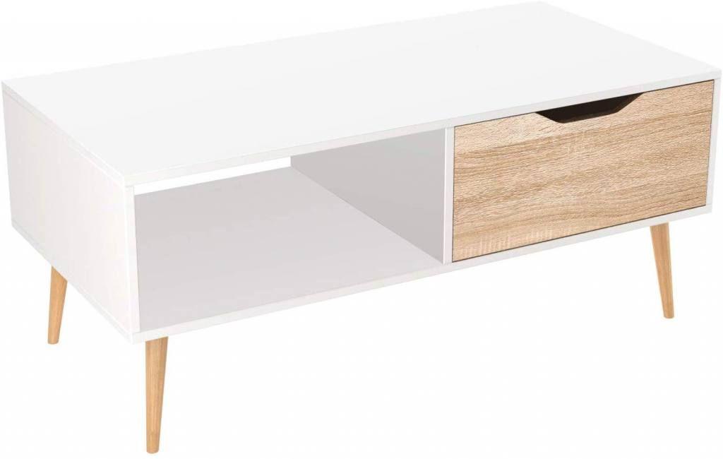 Mesa de centro barata blanca rectangular