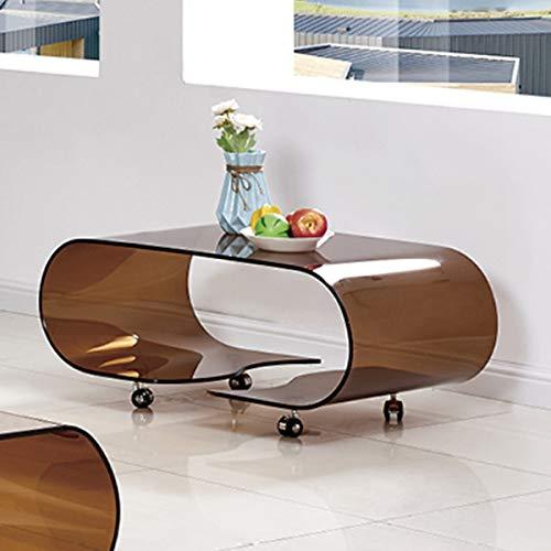 Mesa de Centro con Ruedas y Cristal Curvado 90x50 cm