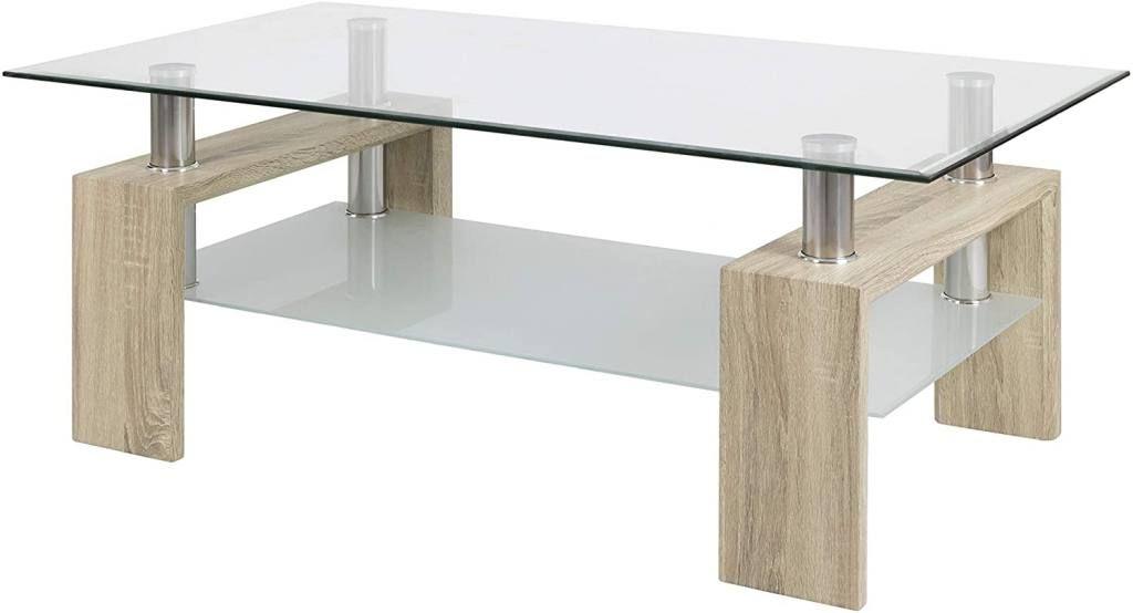 Mesas de centro de cristal y madera